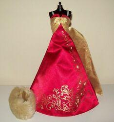 Barbie Doll Red Gold Evening Dress Ball Gown Faux Fur Wrap Princess Clothes D43 $10.99