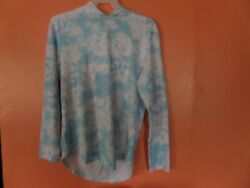 Original use blue and white hooded pull over women#x27;s med and large $11.69