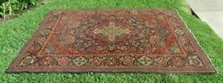 Antique Handmade Oriental Rug 100 Wool Navy Blue 1900s Medallion 4and0395and039and039x6and0396and039and039