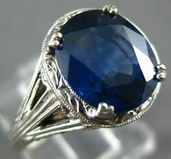 Antique Large 3.55ct Aaa Sapphire 14kt White Gold Oval Engagement Ring 270100