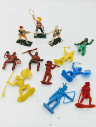 Lot Of 11 Vintage Cowboy And Indian Plastic Figures Mpc Painted Toys Hong Kong
