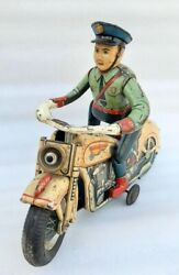 Vintage Mt Trademark Battery Operate Police Ride Motorcycle Litho Tin Toy Japan