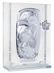 Italian 925 Silver Argento Holy Family Icon Tabletop With Crystal Flow