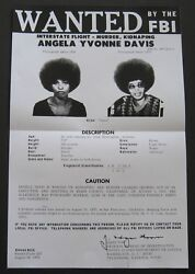 ANGELA DAVIS 1970 FBI MOST WANTED POSTER BLACK PANTHER PARTY CIVIL RIGHTS
