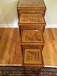 Antique Carved Nesting Table - Set Of 4