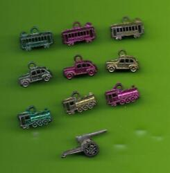 1940and039s Cracker Jack Metal Charms - Lot 10 -- Train Trolly Car All 3 Colors +