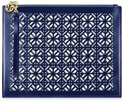 TORY BURCH BLUE clear LACE cutout perforated makeup Bag wristlet clutch pouch $25.60