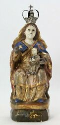 Antique 18th C Carved Wooden Statue Madonna Mary And Jesus, Glass Eyes, Polychrome
