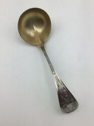 """Antique Gravy Ladle, Audubon By Ball Black And Co., 7"""" Sterling Silver W/gold Wash"""