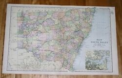 1908 Antique Map Of New South Wales / Australia / Sydney Inset Map