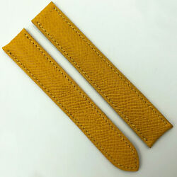 Authentic 17mm Yellow Leather Strap For Deployant Clasp 4a12delp