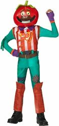 Fortnite Tomatohead Skin Youth Child Costume Boys Jumpsuit Video Game Outfit Lg