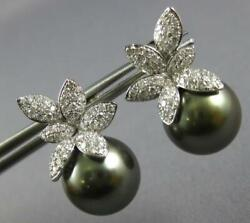 Large 1.03ct Diamond And Aaa Tahitian Pearl 18k White Gold Flower Hanging Earrings