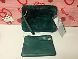 Nwt Nesting Green Faux Fur Faux Leather Wristlet Purse From Sample Sale