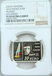 2010 France Silver 10 Euro S10e Picasso Colorized Ngc Pf 69 Ultra Cameo Top Pop