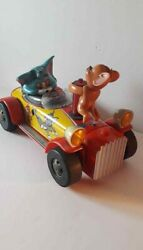 Vintage Rare Mgm Inc.modern Toys 1950s Pressed Tin Tom And Jerry Car Made In Japan