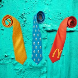 Mcdonalds 3 Ties Mcflurry Pattern Tie + Sesame Seed Tie + Red Cropped Arches