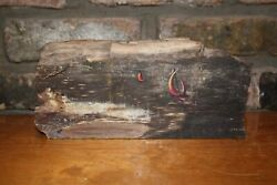 Art A Kelly Pruitt Painting On Petrified Wood Memory Of Wwii Fishing Sloops