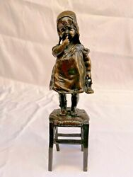 Magnificent 1900 Bronze Of A Girl Standing On A Chair By Juan Clara