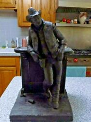 Cutting The Dust Bronzetone Western Themed Sculpture By Michael Garman 18 T