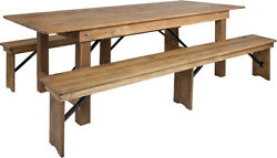 Hercules Series 8' X 40'' Antique Rustic Folding Farm Table And Two Bench Set