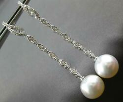 Long .58ct Diamond And Aaa South Sea Pearl 18k White Gold Classic Hanging Earrings