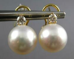 Large .40ct Diamond And Aaa South Sea Pearl 18kt Yellow Gold 3d Clip On Earrings