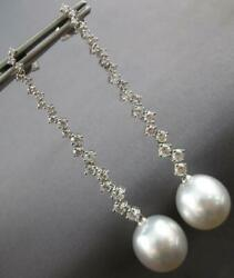 Large And Long 1.53ct Diamond And South Sea Pearl 18k White Gold 3d Hanging Earrings