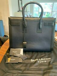 Ysl Large Sac Du Jour Authentic Handbag Brand New W/ Tags Navy And Black Leather
