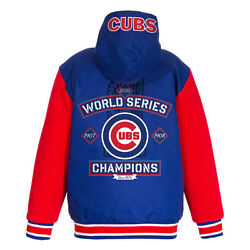 Mlb Men's Chicago Cubs Champion Reversible Hoodie Jacket With Fleece Sleeves