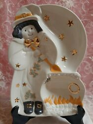 New Lenox Occasions Halloween Witch Candy, Dessert, Treat, Divided Serving Dish