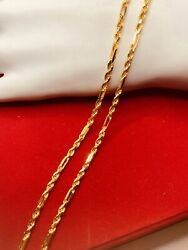 22k Solid Gold Chain Stick Rope Inspired By Carteir