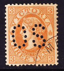 Sh 171 Victoria Cto 3d Orange Perf Os For Upu Distribution Only. Scarce No Gum