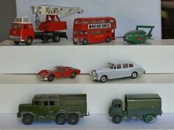 7-lot Vintage Die Cast Dinky Lot Vehicles Toy Meccano Army Bus Cars Sold As Is