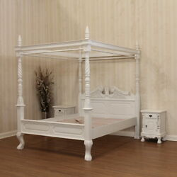 Queen Anne Style Four Poster Bed With Canopy In Antique White Mahogany Wood.