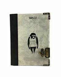 Handmade Genuine Leather Printed Journal Diary Notepad Book Banksy Planet Apes