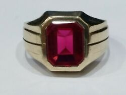 Mens Art Deco Lab Created Ruby 10k Gold Ring Finger Size 9.75