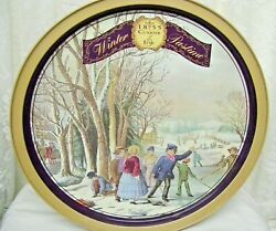 Large Victorian Currier And Ives Tin Box Winter Past Time 1994 Olive Can Company