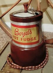 Boyds Hot Fudge Warmer Antique Circa. 1950 Advertising Canister Working