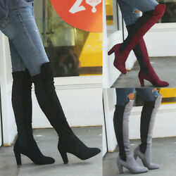 ❤️ Womenand039s Thigh High Boots Over The Knee Winter Stretch Block High Heel Booties