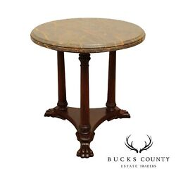 Henredon Empire Style Round Marble Top Mahogany Claw Foot Side Table