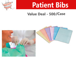 Dental Tattoo Spa Patient Bibs, 2 Ply Tissue/1 Ply Plastic -500/case, Pick Color
