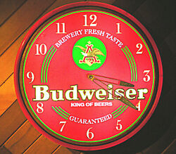 Budweiser King Of Beers 1996 Wall Clock Sign. Looks And Works Great 19x19x4
