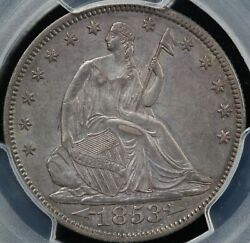 1853 50c Arrows And Rays Seated Liberty Half Dollar Pcgs Au Details Cleaned