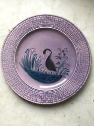 Antique Imperial Russian Kuznetsov Handpainted Porcelain Plate Dish Birds Signed