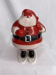 Rosen Rosbro Hard Plastic Santa Claus On Snow Skis Candy Container