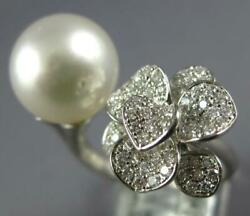 Estate Large .46ct Diamond And Aaa South Sea Pearl 18kt White Gold Flower Fun Ring