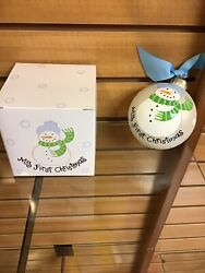 Ornament My First Christmas White With Snowman Blue Hat Coton Colors Brand New