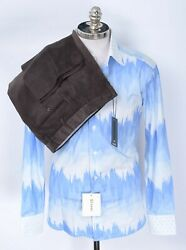 2pc Outfit Lot Brioni Blue Casual Shirt S Zanella Todd Brown Corduroy Pants 32