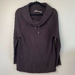 Soft Surroundings Women Sweater Large Petite Brown Wool Cowl Neck Tunic Pullover $22.47